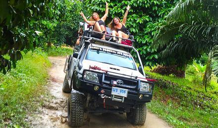 泰国苏梅岛一日游 越野车环岛 骑大象 丛林飞跃