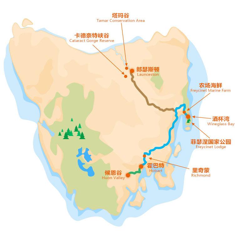 塔斯馬尼亞東部5天線路圖概覽