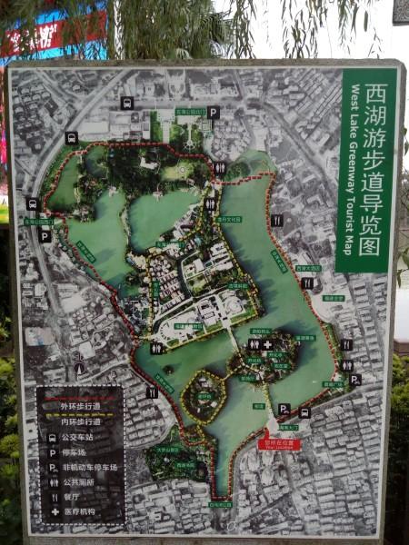 西湖公园的导览图.